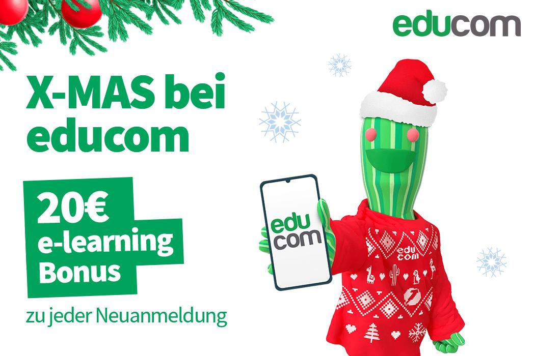 X-MAS bei educom: e-learning Support und bis zu 200€ Weihnachts-Bonus